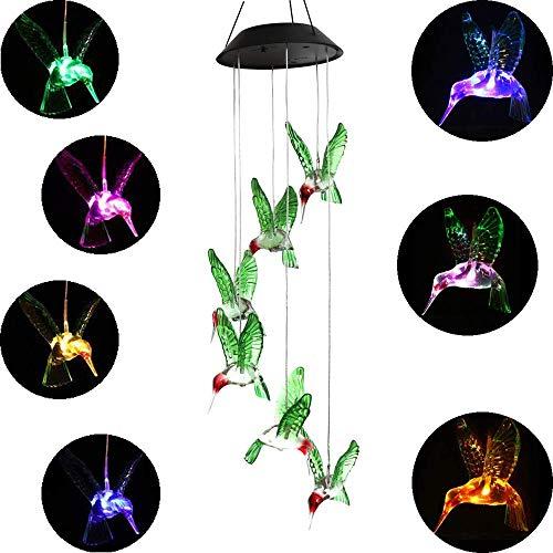 MEIO Farbwechsel LED Solar Mobile Windspiel LED Licht wechselt Farbe Wasserdicht Sechs Kolibri Windspiel für Home Party Night Garden Dekoration
