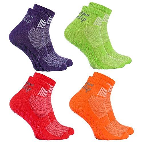 4 Paar bunte Anti-Rutsch-Socken mit ABS-System,ideal für solche Sportarten,wie Joga,Fitness Pilates Kampfkunst Tanz Gymnastik Trampolinspringen.Größen von 36 bis 38, atmende Baumwolle
