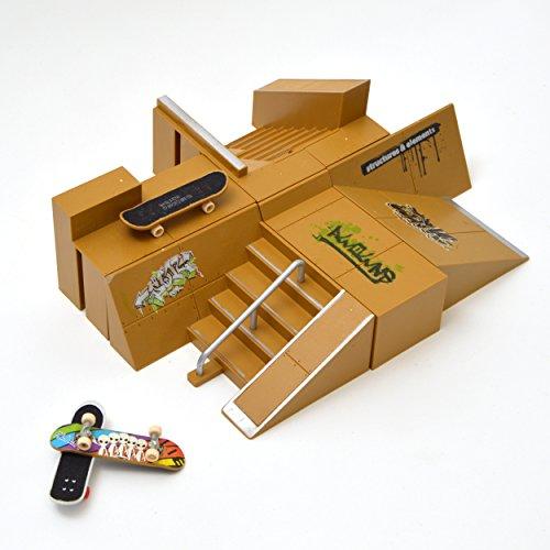 Apollo Fingerboard Rampen Set San Diego inkl. 3 Komplett-Boards und Mini-Rampe für Skate-Tricks (Rampe Mini)