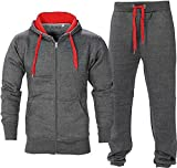 Juicy Trendz Uomo Athletic lunghi Selves pile Zip intera palestra tuta da jogging Set usura attivo Charcoal/Red S (JT-0967)