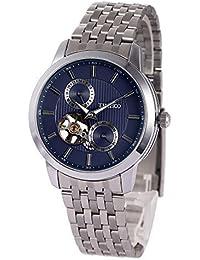 Time100 W60029G.02A de la manera de esqueleto mecánico automático reloj de los hombres de acero