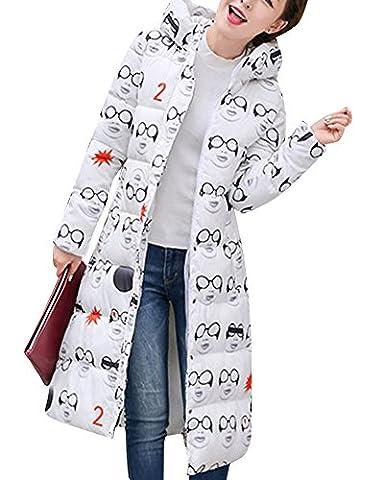 Femmes De Duvet Manteau Doudoune à Capuche Garder au chaud Longue Mince Veste De Manteau Eye Blanc XL
