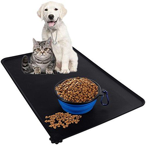 Haustier Napfunterlage mit Haustier Reisenäpfe, Lictin Haustier Fressnapf Unterlage Futtermatte Fressnapfunterlage für Hund und Katze aus Premium Silikon