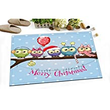 LB Bathroom Rugs,Non-slip Absorbent Bath Mats Soft Shower Rug (60 * 40 CM)-Merry Christmas,Christmas Candy,Red Balloon,Owl on the Branches