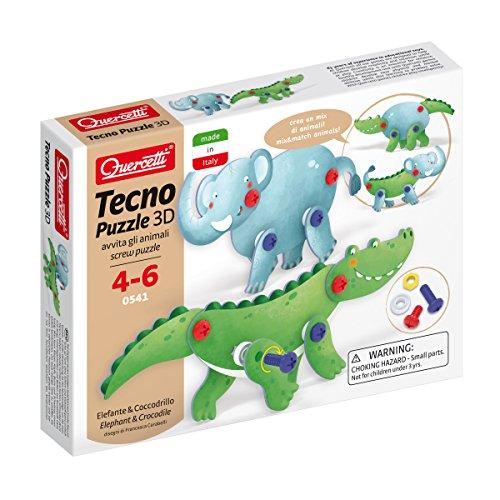 Quercetti 0541 Tecno Puzzle 3D Elefante & Cocodrilo