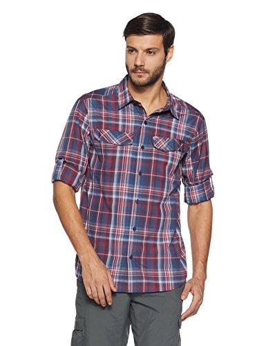Blau Plaid L/s Shirt (Columbia Herren Silver Ridge Plaid Long Sleeve Shirt Hemd, Collegiate Navy, L)