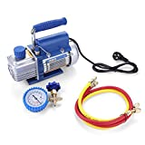 150W Kit Pompa a Vuoto con Spina CN 220V per il Condizionamento dell'Aria/Frigorifero con Manometro FY-1H-N e Tubo per Fluoruro HS-466NAL