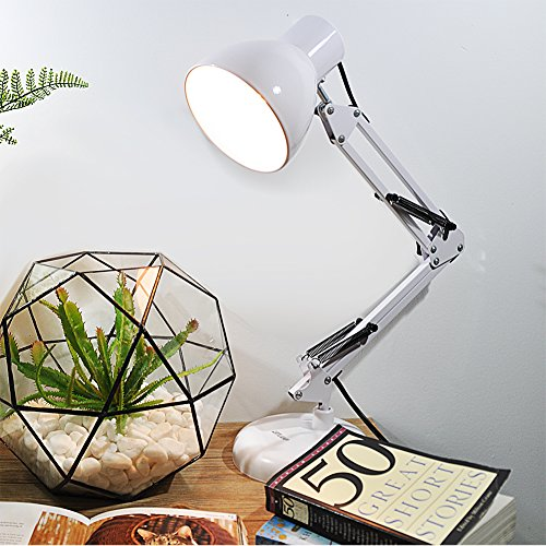 artlamp Architect Desk Lamp/Swing Lamp, Double Arms, White Finish, 3 ways to use (White)