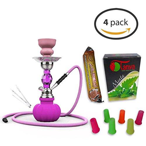 Soria.Premium (Pack 4) 1Cachimba 28cm + 1Sabor (sin nicotina) +10 Pastillas de Carbon + 6 Boquillas Desechables. Shisha hookah Narguile (Color) (morado)