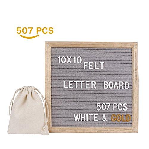 Mit Menü-board Buchstaben (LiDiwee Veränderbare Filz Brief Board - 507 Weiß und Gold Plastik Buchstaben - 25.4x25.4 cm Home Office Holz Letter Board Buchstabenbrett Tafel mit Eiche Rahmen, Ständer und Leinen Tasche (Grau))
