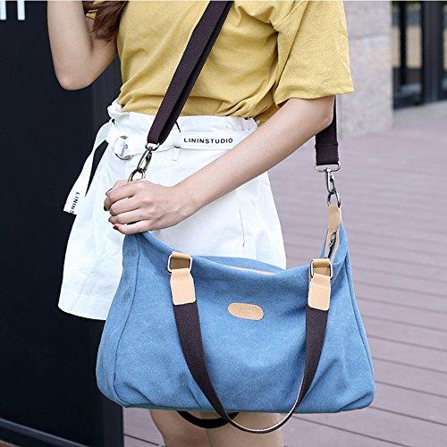Young & Ming - Borsa da donna a tracolla da spalla di tela Borsa da donna a mano per viaggi studenti lavori e altro uso quotidiano Blu