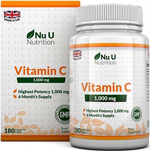 Vitamin C 1000 mg hochdosiert - für Immunsystem & Kollagen - Versorgung für 6 Monate - 180 Tabletten - Nahrungsergänzungsmittel von Nu U Nutrition (Maximale Stärke Tabletten)