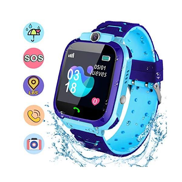 NAIXUES Smartwatch Niños, Reloj Inteligente Niño IP67, LBS, Hacer Llamada, Chat de Voz, SOS, Modo de Clase, Cámara… 1