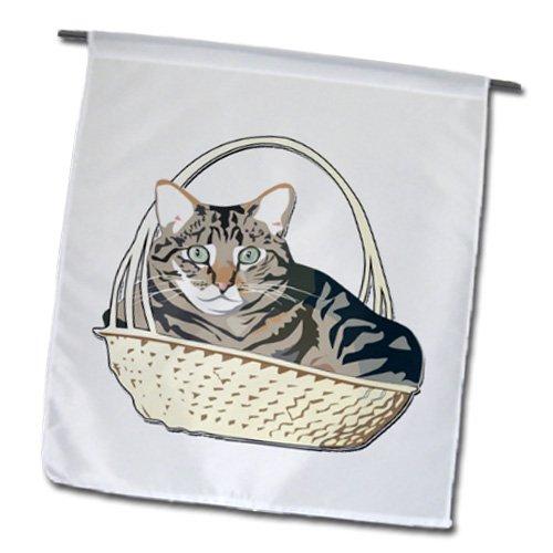 3drose FL _ 150791_ 1Liebenswürdig, Katze in Korb Garten Flagge, 12von 18 (Square-geschenk-korb)
