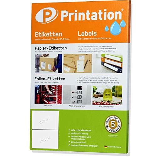 Folien-Etiketten 210 x 148,5 mm glasklar transparent glänzend auf DIN A4 Bogen - 2 A5 Etiketten klar / A4 Seite - 20 Aufkleber/Sticker 210x148,5 selbstklebend mit Laser Drucker bedruckbar
