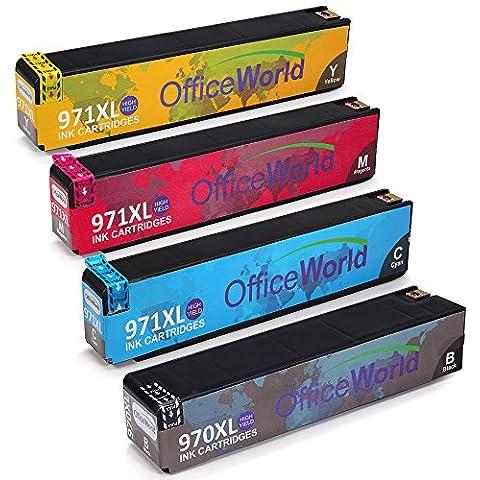 OfficeWorld Reemplazo para HP 970XL 971XL Cartuchos de tinta (1 Negro 1 Cian 1 Magenta 1 Amarillo) Alta Capacidad Compatible con HP Officejet Pro X576dw X551dw X476dw X451dn X451dw X476dn