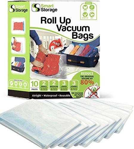 Zusammenrollbare Aufbewahrungsbeutel 10 Stück | Vakuum-Beutel & Zusammenrollbare platzsparende Beutel Sortiment-Packung | Vakuum-Beutel für Kleidung, Bettwäsche & zum Reisen | Keine Pumpe oder Vakuumi -
