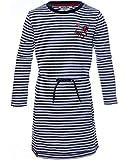 Review Kids Mädchen Kleid, Shirtkleid mit Stickerei und Streifen in Navy Offwhite, Größe:128/134
