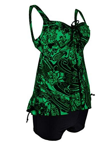 Hilor Damen Kordelzug Tankini-Badeanzug in Übergröße Retro-Badebekleidung Grün Floral
