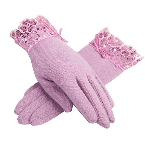 Mme automne et en hiver dentelle pailleté haute teneur en peluche gants chauds