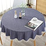 Best Simple Cotton Rounds - Table Cloth, Simple Color Cotton Blend Polyester Tassel Review