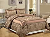Imperial Rooms Luxury Jacquard 3 Piece Floral Bedding Quilted Bedspreads Comforter Sets Decor Bedroom High Quality Bed Sets - (Super King/Caramel) Include 1 Bedspread and 2 Pillow Cases