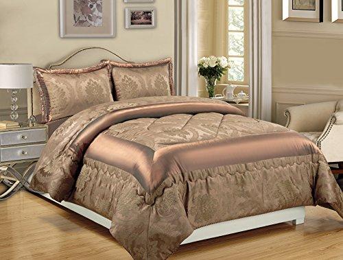 Luxus-Bettwäscheset, Tagesdecke + Steppdecke + Pillow Sham, Jaquard, 3-teilig, Jaquard-Gewebe, Angela Black, King Size (Queen-size-bett-set Purpur)