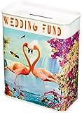 Wedding Fund Flamingoes Metal Money Box Tin