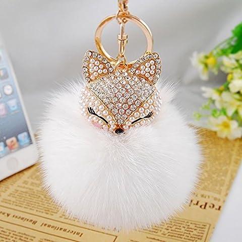 Cinziia Lovely Fox Plush Ball Key Chain Keyring Car Key Ring Phone Bag Pendant, White