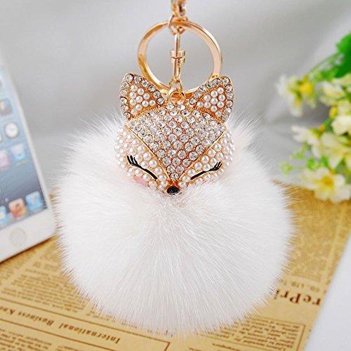 Fox Fur Ball with Artificial Fox Head Inlay Pearl Rhinestone Key Chain(white) by KIV