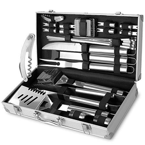FIXKIT 26Pcs Kit Barbecue Portable, Kit Ustensiles Barbecue en Acier Inoxydable pour Grillade,...