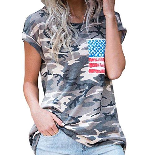 Damen Shirt, GJKK Damen Casual Sommershirt Kurzarm Camouflage O-Ausschnitt Bluse T-Shirt Tops Kurzarmshirt Sommertop Lose Hemd Oberteil Tops Bluse Shirt Sportlich T-Shirt Crop Top (Tarnung, L)