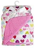 'Premiers pas' Couverture de luxe en polaire douce pour bébé en coeurs multicolores roses mignons, 75 x 100 cm, pour bébés