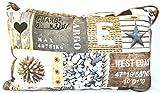 Funda de cojín Jürgen Schleiß Konfektion con diseño marítimo costero, a cuadros, color marrón y gris, de algodón 100 %, para sofá, fabricado en Alemania, en distintos tamaños 40x 40cm a60x 60 cm, algodón mezcla, marrón y gris, 30 x 50