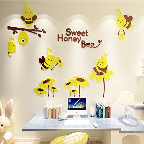 (Niedliche Bienen Cartoon Wandaufkleber 3D Wandaufkleber Schlafzimmer Kinderzimmer Dekoration Kindergarten Klassenzimmer Wandaufkleber, 922 Bienen - mittlerer gelber Kaffee, groß)