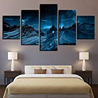 SHINERING 5 Pieces Blue Aurora Borealis Snow Mountain Modern Hd Printed Night Scene Pictures Canvas Painting Wall Art Home Decor Framework,40Cm×100Cm×1Pcs