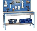 Werkbank mit Lochwand und Schublade - MDF Platte 16mm Traglast 600kg Farbe blau, Größe 144x150x60 cm