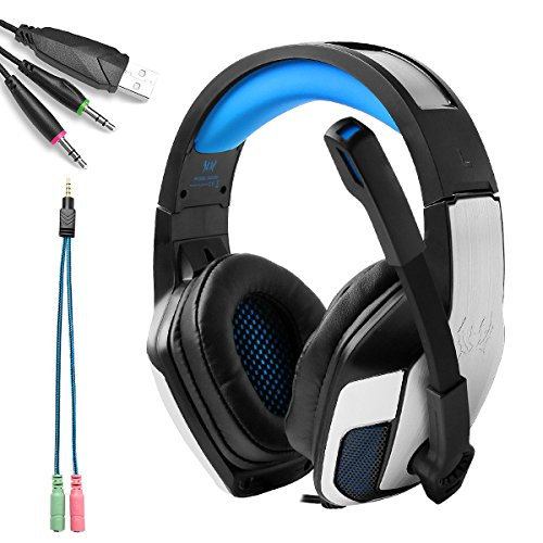 KOTION EACH G5300 Cuffie Gaming PS4 Cuffie da Gioco Stereo Bass 3.5mm Headset Gaming con Microfono e Luci LED per Xbox One, Portatili, Mac, Tablet e Smartphone(Blu)