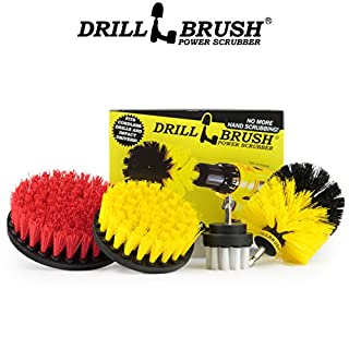 Drillbrush 4 Piece Scrub Brush Drill Attachment Kit - Drill Powered Cleaning Brush Attachments - Time Saving Cleaning Kit - Great for Cleaning Pool Tile, Flooring, Brick, Ceramic, Marble, and Grout