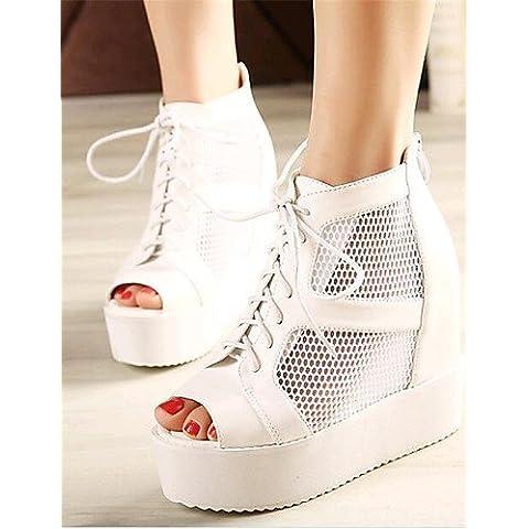 LFNLYX Zapatos de mujer-Tacón Cuña-Cuñas / Tacones / Punta Abierta-Tacones-Exterior / Casual-Semicuero-Negro / Blanco , black , us6 / eu36 / uk4 / cn36
