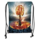 ZKHTO Drawstring Sack Backpacks Bags,War Home Decor,Atomic Explosion Mushroom Cloud Fireball Inferno Nuclear Reaction Print,Black Orange Soft Satin,5 Liter Capacity,Adjustable String Closure,