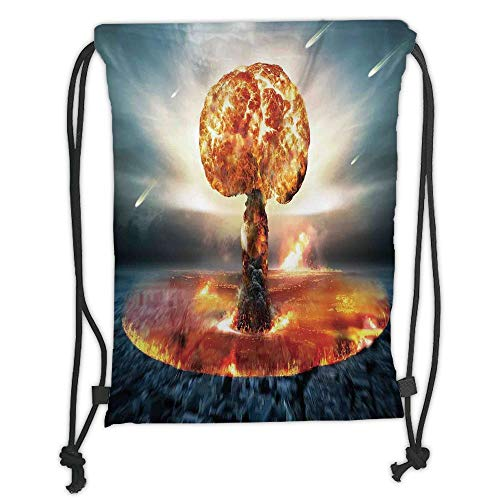 LULUZXOA Gym Bag Printed Drawstring Sack Backpacks Bags,War Home Decor,Atomic Explosion Mushroom Cloud Fireball Inferno Nuclear Reaction Print,Black Orange Soft Satin, -