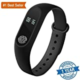 Rewy Certified M2 Smart fitness Band with Heart Rate sensor/Pedometer/Sleep Monitoring functions Compatible for All Android Samsung Iphone Motorola Vivo Oppo Micromac Mi Xiaomi Redmi Lenovo Htc - Black