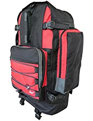 Großer Frontlader Backpacker Camping Rucksack - 50 bis 55 Liter L Volumen – Flugzeug Handgepäck geeignet - für Backpacking, Festival, Reise, Outdoor und Wandern - Roamlite RL55M (Schwarz ROT)