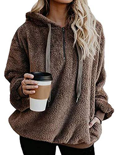 Yieune Kapuzenpullover Damen Sweatshirt Lose Casual Pullover Strickjacken Cashmere Sweater Streetwear Pulli (Khaki L)