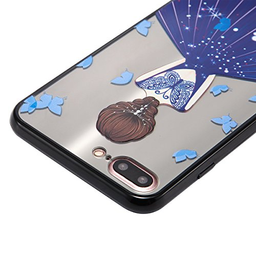 Custodia iPhone 7 Plus, iPhone 7 Plus Cover Silicone, SainCat Custodia in Silicone Morbida e Hard PC Protettiva Cover per iPhone 7 Plus, Custodia Antiurto Ultra Slim Silicone Case Ultra Sottile Soft T Abito Blu Zaffiro