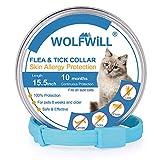 WOLFWILL Collar de Pulgas y Garrapatas para Gato,Acción Prolongada 10 Meses de Protección y Prevención contra Pulgas Garrapatas,Piojos,Talla Única para Todos,Ajustable, Impermeable