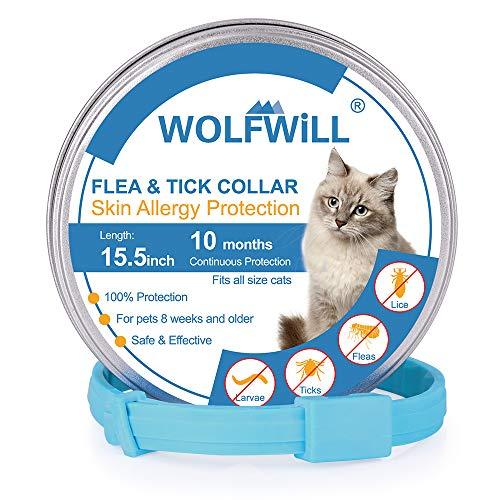 WOLFWILL Collier Anti-puces Chat Collier Antiparasitaire Non-Toxique Anti-allergie Etanche Durée 10 Mois pour Chat avec Longueur 39cm Ajustable