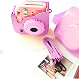 PU Leather Camera Case Pocket With Shoulder Strap For Fujifilm Instax Mini 8 Camera Pink