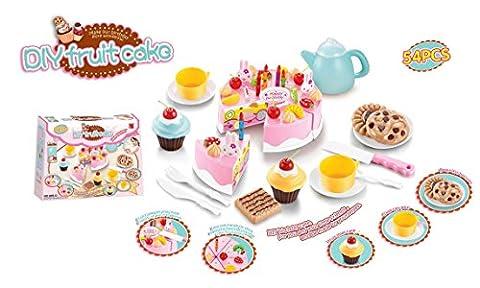 54 PCS DIY Cutting Fruit Birthday Cake Food Play Toy Set Tea Set for Kids Children Babies Great Christmas XMAS Gift